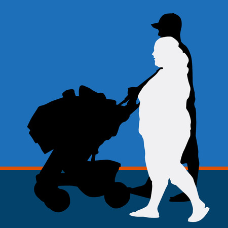 An image of a man pushing a baby carriage with his pregnant wife. Vector