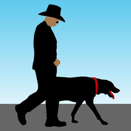An image of a man walking a large dog.