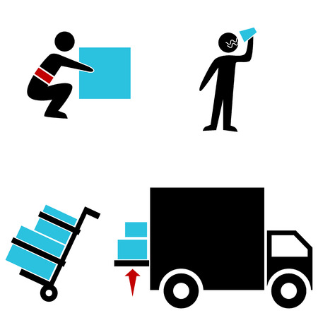 An image of a warehouse icons. Vector