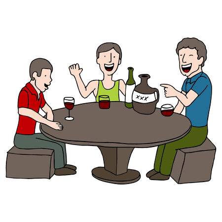 An image of men playing a drinking game.