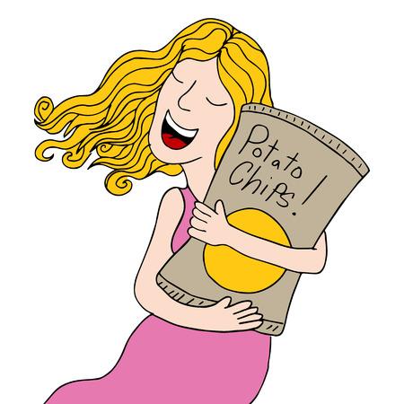 Een beeld van een meisje met een zak chips. Stockfoto - 28813954