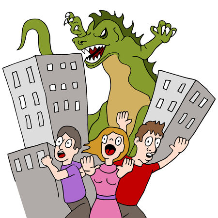 destroying: An image of a monster destroying city while people run.