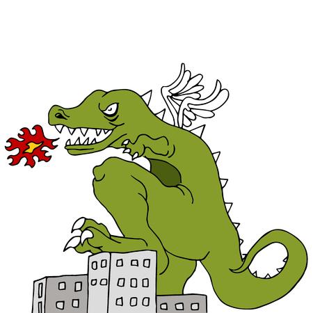 smashing: An image of a monster smashing buildings.