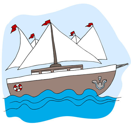 An image of a sailboat. Vector