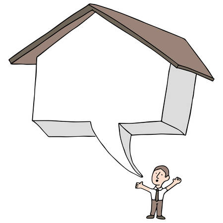 An image of a man talking about real estate. Vector
