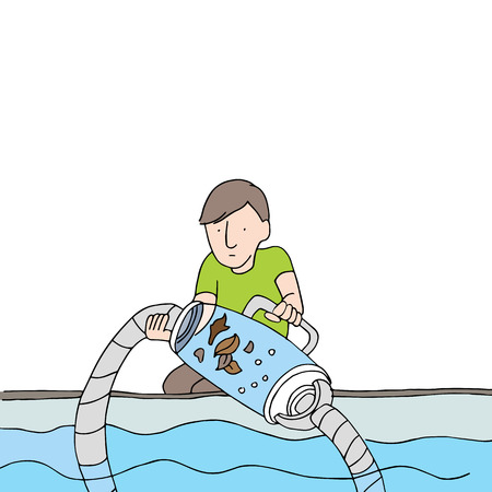 An image of a man cleaning a pool filter vacuum. Vector