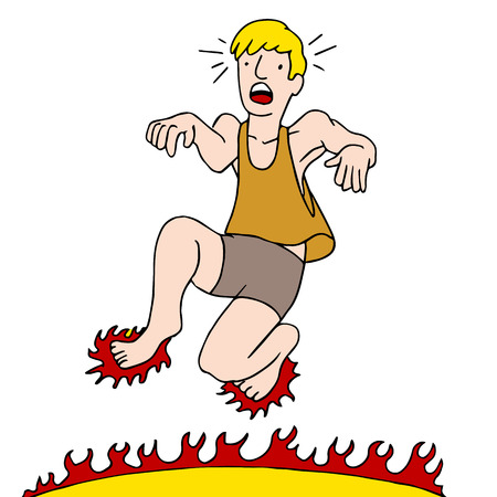 An image of a man burning his feet while walking on a hot surface. Çizim