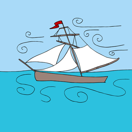schooner: An image of a sailboat on the ocean with wind gusts.