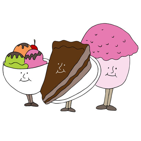 An image of dessert cartoon characters. Vector
