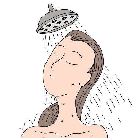 An image of a woman showering. Vector