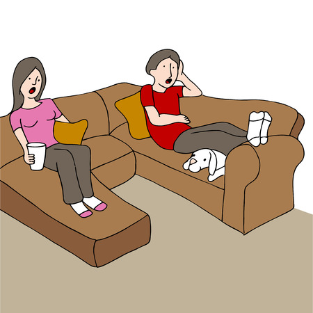 An image of a couple sitting on a couch with a surprised look on their faces while watching tv. Vector
