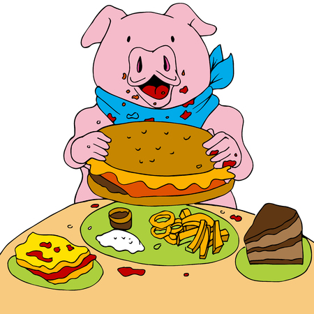overeating: An image of a hungry pig.