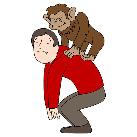 monkey cartoon: An image of a man with a monkey on his back.