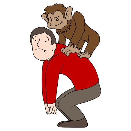 mono caricatura: Una imagen de un hombre con un mono en la espalda. Vectores
