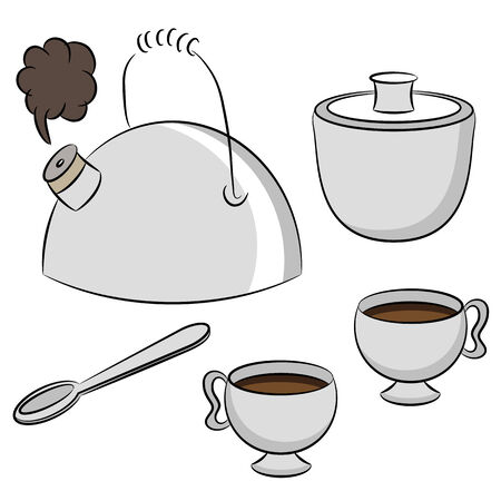 An image of a tea set. Vector