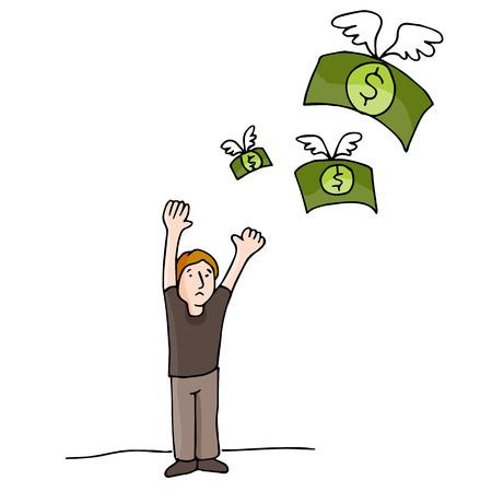 Een beeld van het geld weg te vliegen.