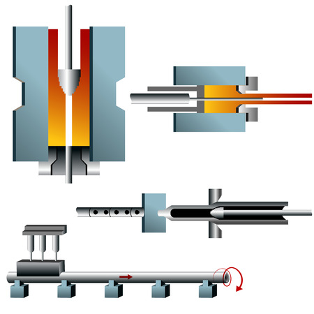 destructive: A 3d image of steel pipe making. Illustration