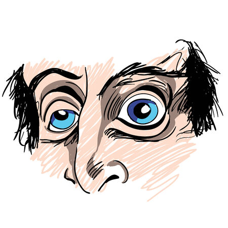 An image of a man with strange eyes. Illustration