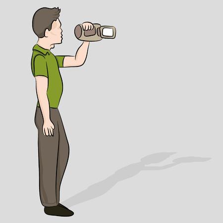 tape recorder: Una imagen de un hombre de la grabación de un video. Vectores