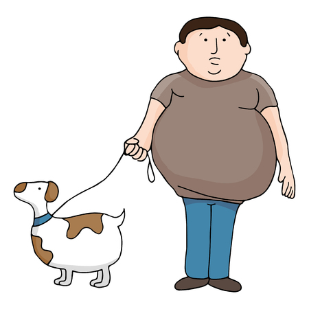 An image of an overweight man and dog.