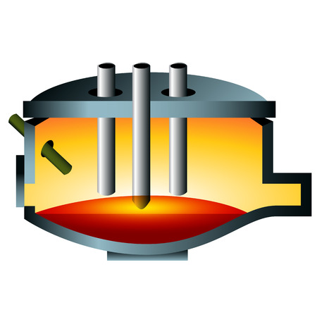 furnace: A 3d image of an arc furnace steel icon. Illustration