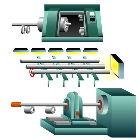 tightening: A 3d image of thread and tighten steel pipes. Illustration