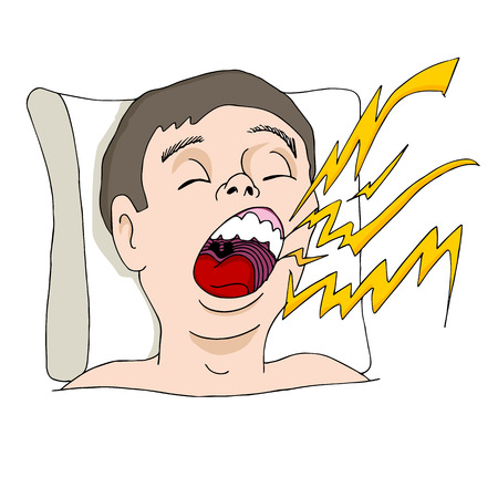 An image of man snoring loudly.