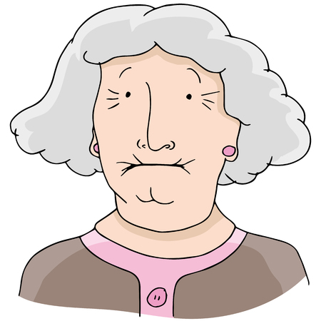 An image of toothless old woman. Vector