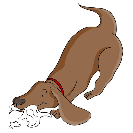 An image of a dog eating paper. Illustration