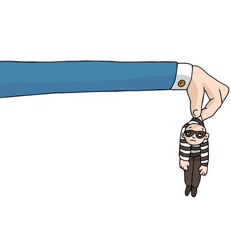 Una imagen del largo brazo de la ley. Ilustración de vector