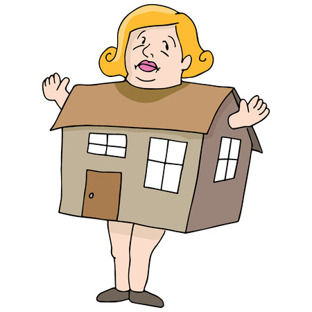 big woman: An image of a woman who is as big as a house.