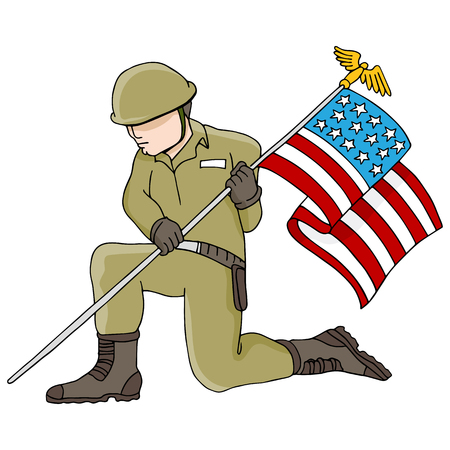 An image of a soldier holding an American flag. Vector