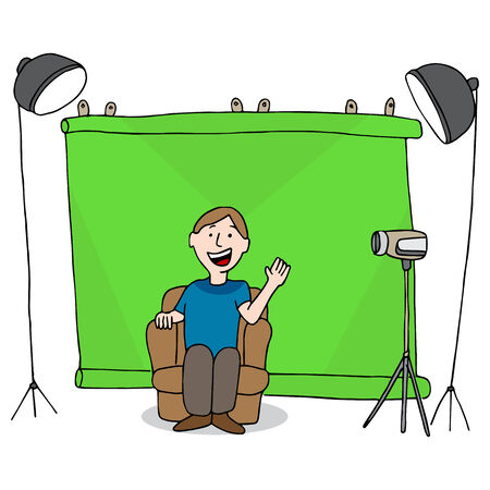 An image of a man recording a video in his studio. Vector
