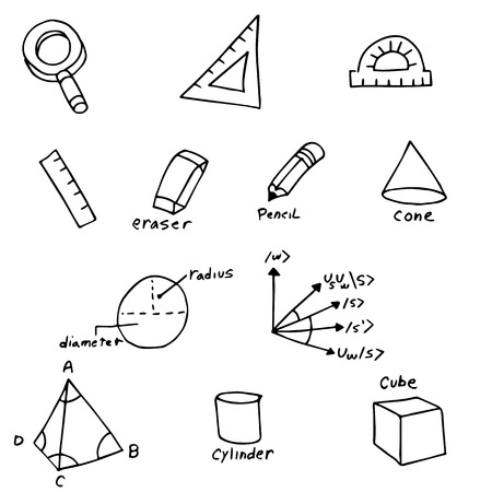 An image of geometry symbols. Vector