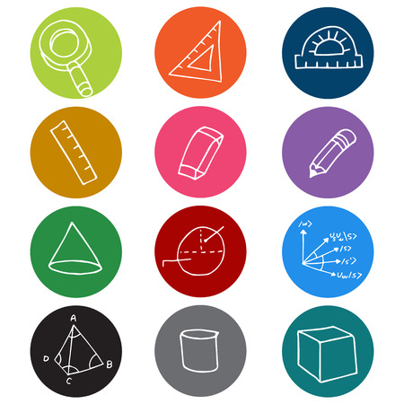 diameter: An image of colorful geometry icon symbols. Illustration