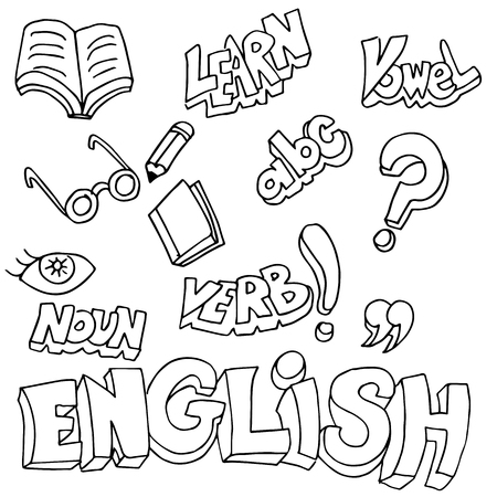 An image of english symbols and learning items. Illustration