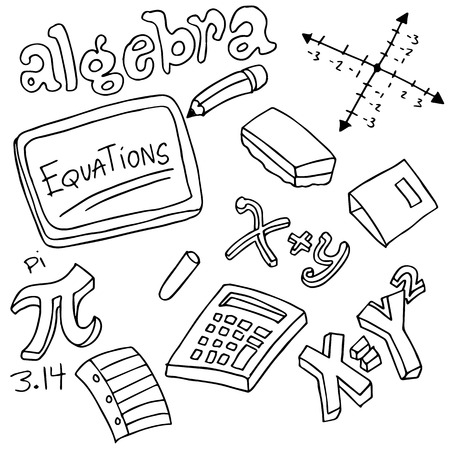 An image of algebra symbols and objects. Vector