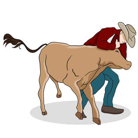 catch wrestling: An image of a cowboy wrangling a calf.