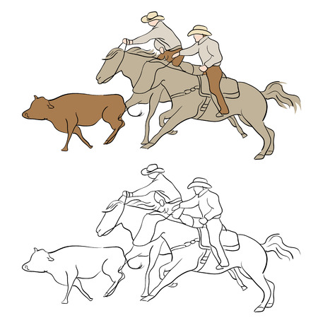 ranchers: An image of cowboys herding cattle. Illustration