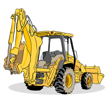 An image of a backhoe loader vehicle. Illustration