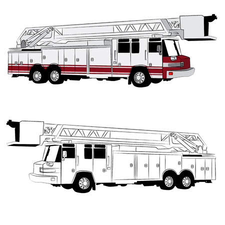 Een afbeelding van een brand vrachtwagen voertuig. Stock Illustratie
