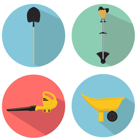 An image of a gardening tools icon set. 矢量图像