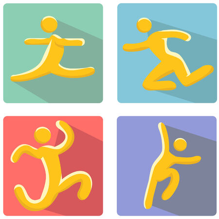 An image of a running man figure icon set. Vector