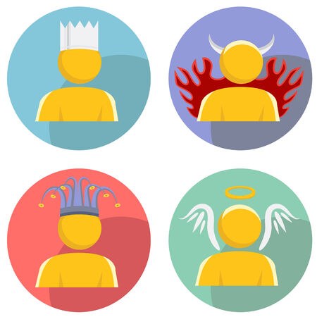 An image of a set of people wearing personality hats. Illustration