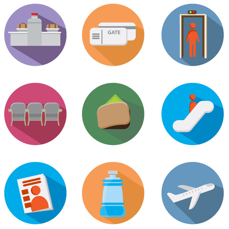 An image of an airport icon set. Vector