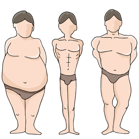 poor diet: An image of male body shapes. Illustration