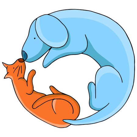 An image of a cat and dog in a circular pattern.