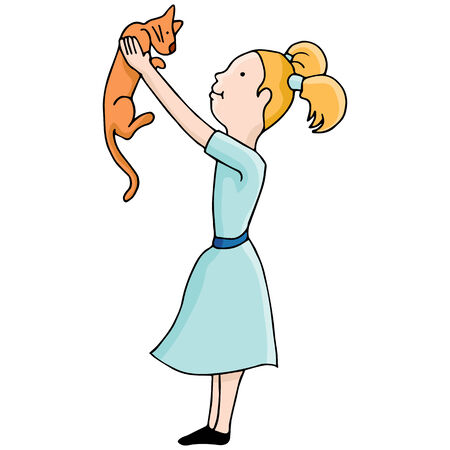 An image of girl holding a cat. Vector