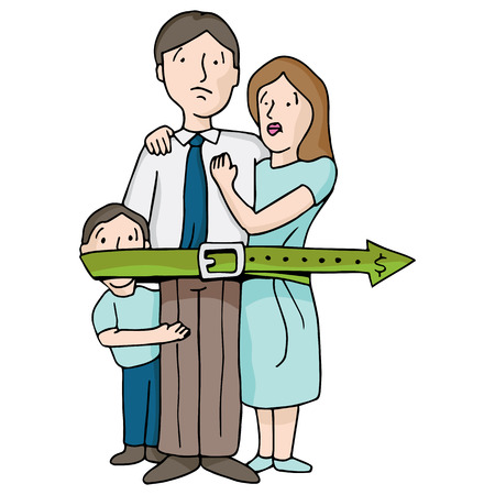 An image of a family tightening their budget belt. Vector