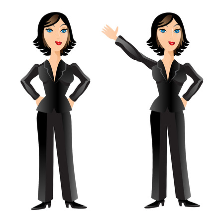 pantsuit: An image of a business woman posing and waving. Illustration